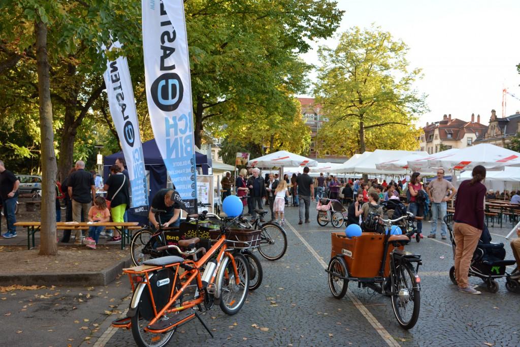 Der Sammelpunkt mit Lastenrädern auf dem Weststadtfest Heidelberg