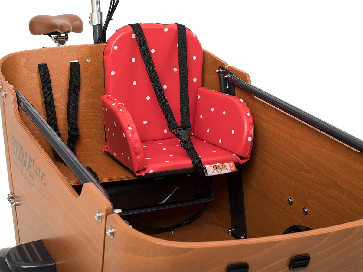 Babboe Big / City / Curve Kindersitz - rot-weiß gepunktet